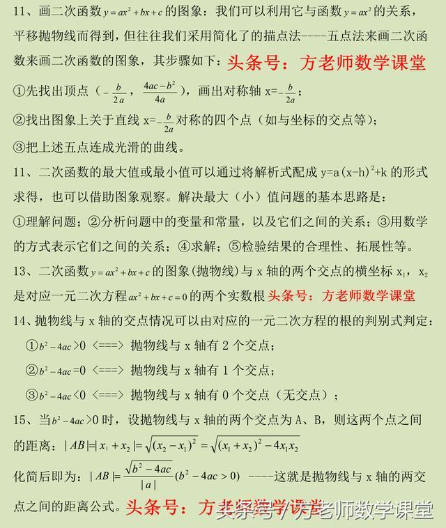 牛!3张图片,总结了九年级数学二次函数所有知识点,你要不要?
