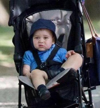 戴着渔夫帽的乔治小王子,一脸嫌弃坐在婴儿车里,任性得像个大佬
