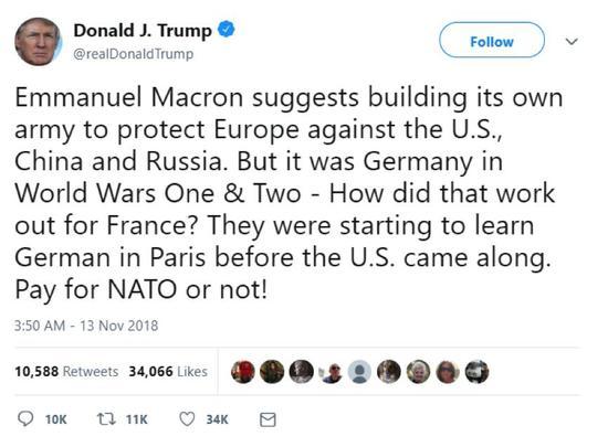 """马克龙想建欧洲自己军队防美 特朗普发推""""辱法"""""""