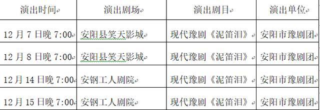 """安阳市""""中原文化大舞台""""2018年12月份演出安排"""