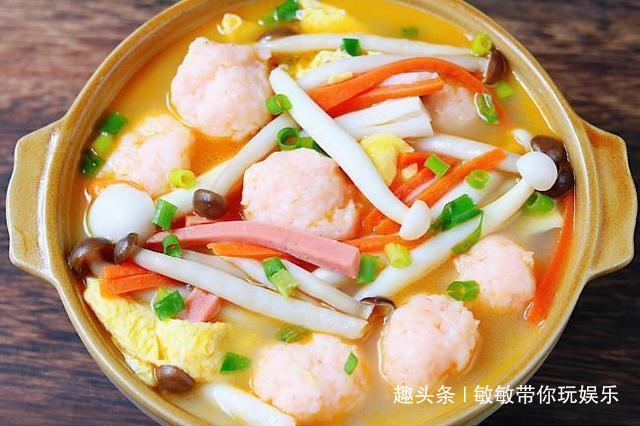 鲜美的菌菇虾滑汤,好喝又不长胖,女生减肥必备!-敏敏带你玩娱乐