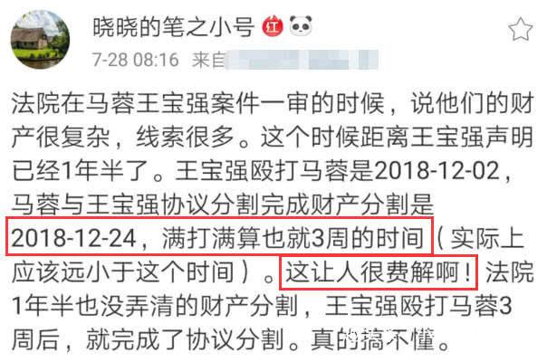 <b>马蓉好友质疑法院:王宝强殴打马蓉3周后就完成财产分割,很费解</b>