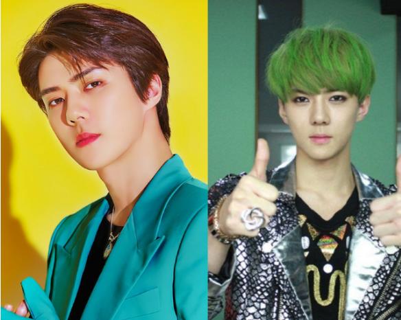 当EXO染绿发,金珉硕霸气十足,边伯贤很是高冷,他看出年代感