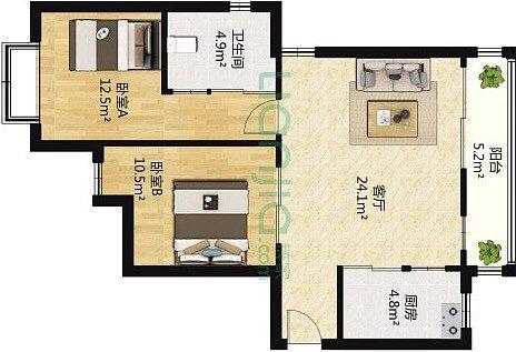 烟台装修:一幢65平方米的小房子,可以如此舒适和宽敞