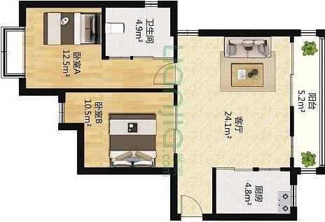 蓬莱装修:一幢65平方米的小房子,可以如此舒适和宽敞