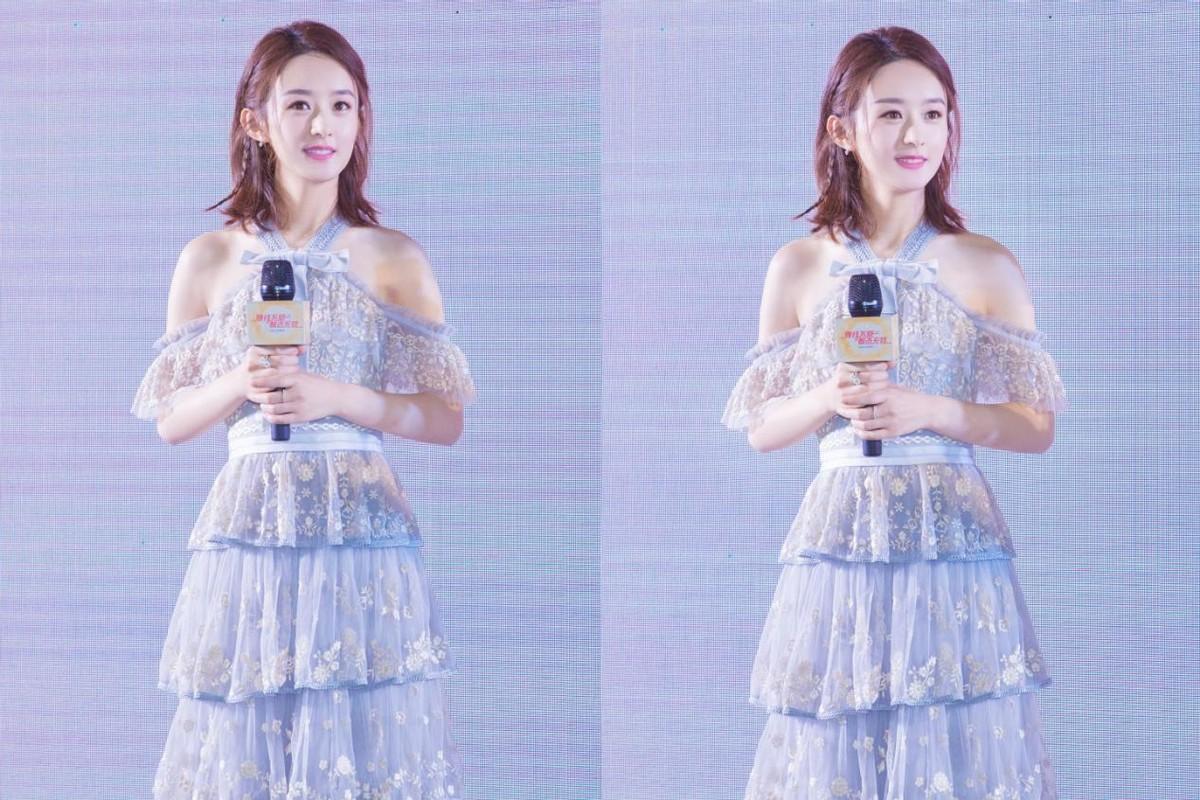 赵丽颖虽然身材娇小,但线条却很好,穿露腰的裙子马甲线抢眼