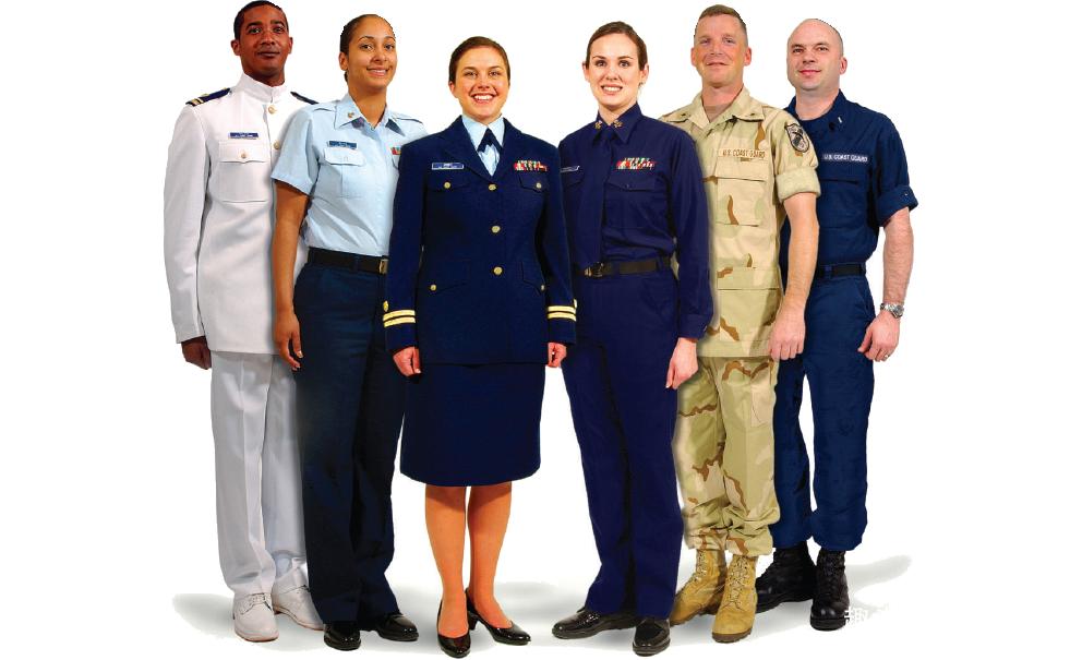美国海岸警卫队的士兵制服,左臂是军衔和服役条带,右臂只有盾徽